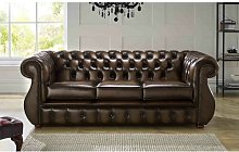 Colvard Genuine Leather 3 Seater Chesterfield Sofa