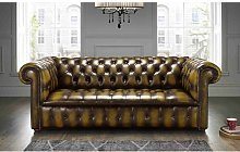 Colwell Buttoned Genuine Leather 3 Seater