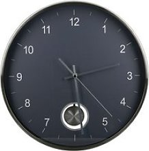 Comb Glass Wall Clock With Dark Grey And Silver