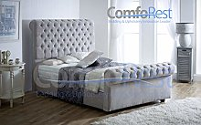 ComfoRest Luxurious Chesterfield Sleigh Bed Frame,