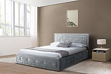 Comfy Living Fabric Diamante Ottoman Bed Frame In