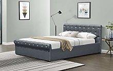 Comfy Living Linen Fabric Diamante Chesterfield
