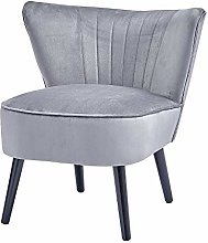 Comfy Living Room Side Chair Grey with Soft Velvet