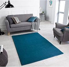 Comfy Teal Rectangle Plain/Nearly Plain Rug