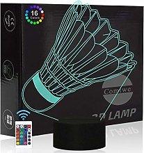 Comiwe Badminton 3D Illusion Night Light Toys,16