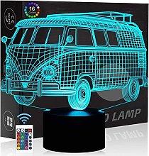 Comiwe Bus 3D Illusion Night Light Toys,16 Colours