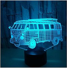 Comiwe Bus 3D Illusion Night Light Toys,16 Colours