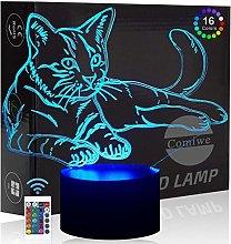Comiwe Cat (A) 3D Illusion Night Light Toys,16