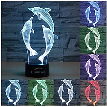 Comiwe Dolphin 3D Illusion Night Light Toys,16