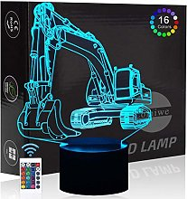 Comiwe Excavator 3D Illusion Night Light Toys,16