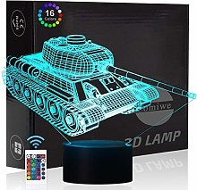 Comiwe Military Tank 3D Illusion Night Light