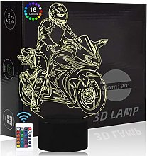 Comiwe Motorcycle 3D Illusion Night Light Toy,16