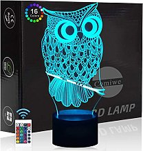 Comiwe Owl (A) 3D Illusion Night Light Toys,16