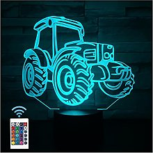 Comiwe Tractor 3D Illusion Night Light Toys,16