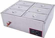 Commercial Food Warmer, Stainless Steel 6 Pan Hot
