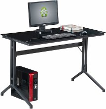 Compact Black Glass Computer Desk Piranha