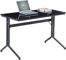 Compact Black Glass Computer Desk - Piranha