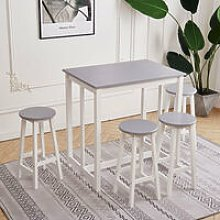 Compact Breakfast Bar Dining Table & 4 Stools Wood