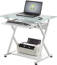 Compact Computer Desk with Integrated Keyboard