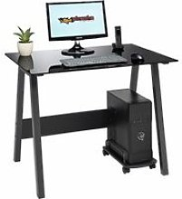 Compact Toughened Black Glass Computer Desk Home