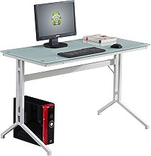 Compact White Glass Computer Desk Piranha