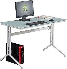 Compact White Glass Computer Desk - Piranha