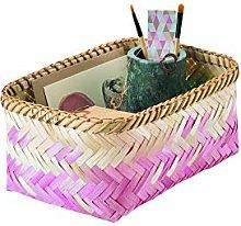Compactor Medium Noumea Bamboo Basket, Pink/Brown