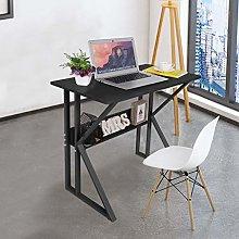 Computer Black Desk with Stable Unique K-shaped