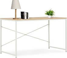 Computer Desk 120x60x70 cm White and Oak