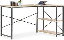 Computer Desk Black and Oak 120x72x70 cm - Hommoo