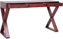 Computer Desk Brown 132x47x77 cm Solid Mahogany
