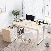 Computer Desk Corner Desk with Bookshelf Wood