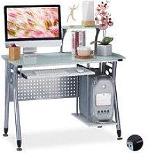 Computer Desk Glass, Keyboard Tray & Shelf For