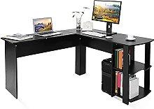 Computer Desk L Shaped Writing Workstation, Black