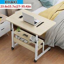 Computer Desk w/ Wheels Adjustable Laptop Cart