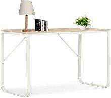 Computer Desk White and Oak 120x60x73 cm VD07545 -