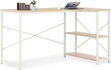 Computer Desk White and Oak 120x72x70 cm - Hommoo