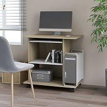Computer Desk White and Sonoma Oak 80x50x75 cm