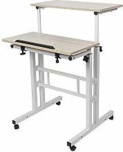 Computer desk with castors, height adjustable