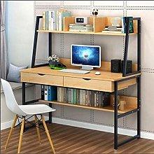 Computer Desk with Hutch & 2 Drawers & Bookshelf,