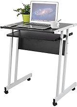 Computer Desk with Keyboard Wood Black Z-Shaped