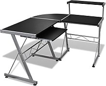 Computer Desk with Pull-out Keyboard Tray L-shaped
