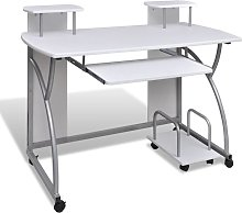 Computer Desk with Pull-out Keyboard Tray White