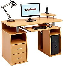Computer Desk with Shelves, Cupboard and Drawers