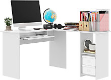 Computer Desk with Shelves White Home Office Study