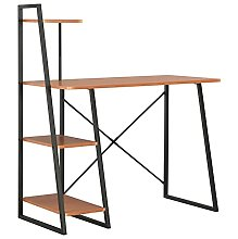 Computer Desk with Shelving Unit Steel Wooden Home