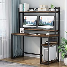 Computer Desk with Storage Shelves, Workstation,