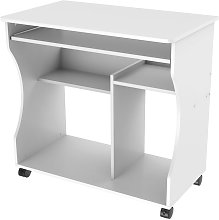 Computer Desk with Wheels & Shelves White MDF for