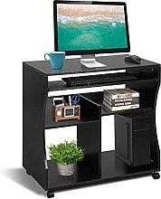 Computer Desk, Wooden Portable Computer Trolley