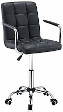 Computer Office Desk Chair With Arm, PU Leather